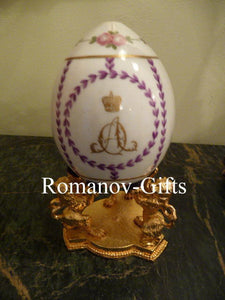 Russian Imperial Porcelain Factory Empress Alexandra Floral Egg