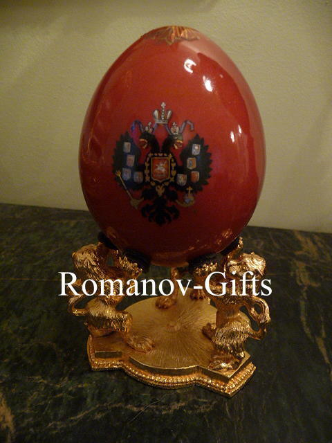 Russian Imperial Porcelain Factory Romanov Double Eagle Presentation Egg