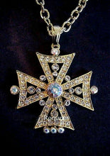 Celtic Diamond Crystal Cross Pendant Necklace  Aurora Borealis