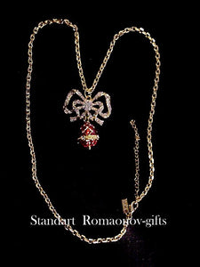 Russian Imperial Empress Alexandra Egg & Lovers Bow Necklace Romanov Collection""