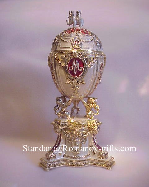 Empress Marie Feodorovna Danish Jubilee Musical Egg with Picture Frame