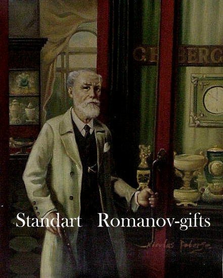 Oil Painting Carl Faberge in his St. Petersburg Shop signed
