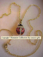 Russian Imperial Princess Anastasia  Lady Bug Pendant Necklace