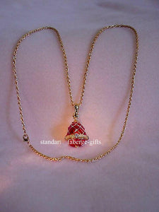 Empress Alexandra Russian Imperial Ruby Red EGG Earrings (Posts) & Necklace Set