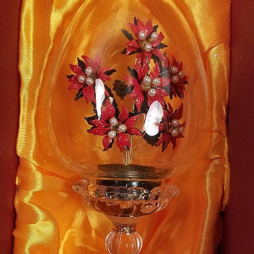 Franklin Mint House of Faberge Crystal Egg Christmas Poinsettia Flowers Austria