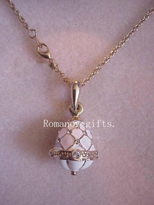 Empress Alexandra Russian Empress White EGG PENDANT with Necklace