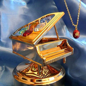 "GOLD RUSSIAN EMPRESS ALEXANDRA MUSIC BOX PIANO plays ""Fur Elise"" & EGG NECKLACE"