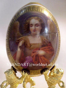 Russian Imperial Porcelain Factory St Michael Archangel Egg