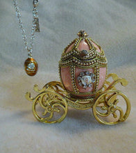 "Russian Imperial ""Empress Marie"" Peach Enameled Egg Coach & Pendant Necklace"