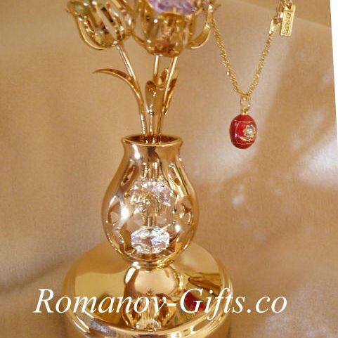 Gold   ROTATING Crystal Floral Bouquet 3 flowers Music Box & Egg Pendant Necklace