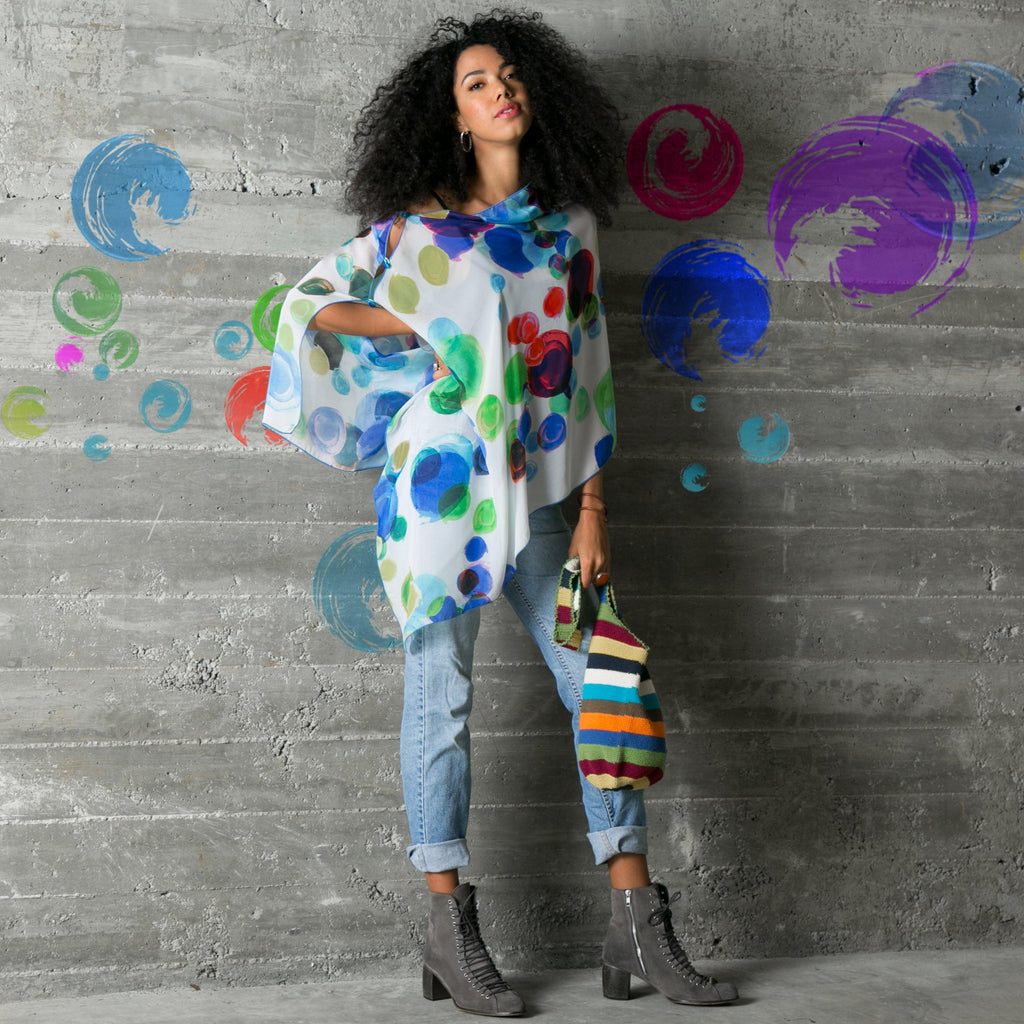 """Spirit"" LuLuwrap design multi-colored intersecting circles worn with Entrepreneur style"