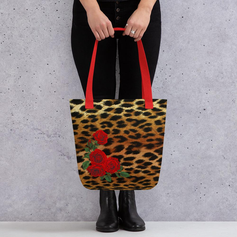 Red Rose and Leopard Tote