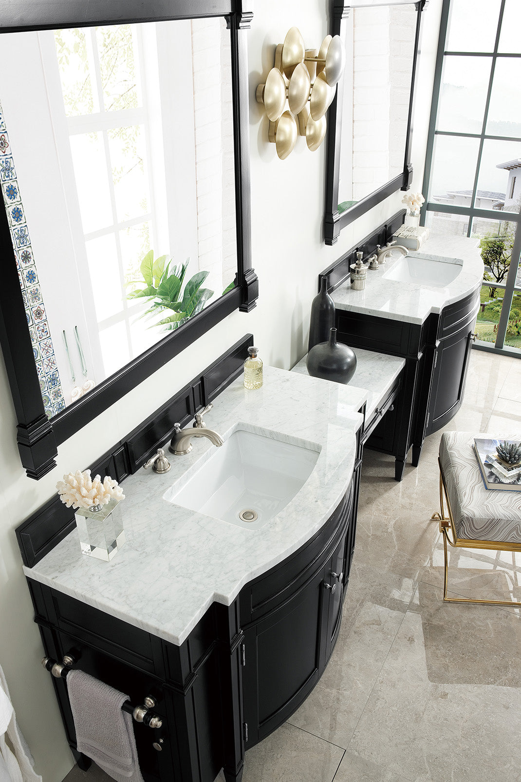 "Brittany 118"" Black Onyx Double Bathroom Vanity"