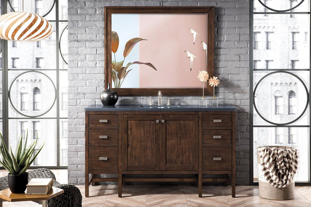 "Addison 60"" Single Vanity Cabinet , Mid Century Acacia"