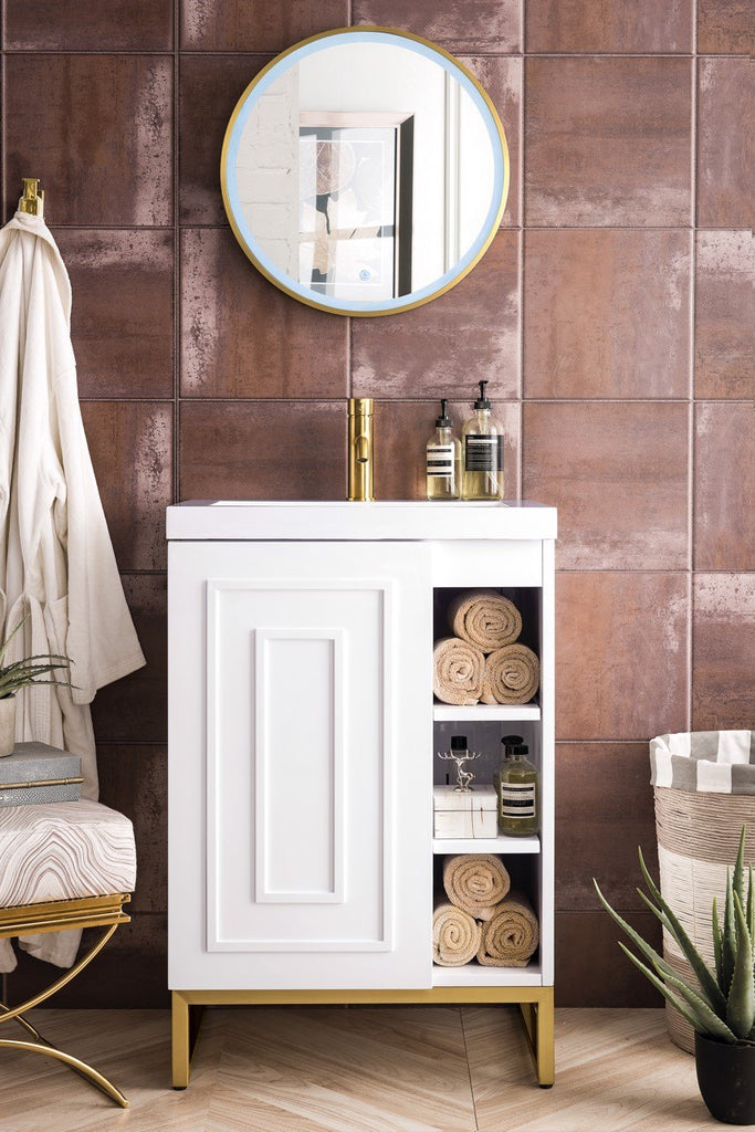 "Alicante' 24"" Single Vanity Cabinet, Glossy White, Radiant Gold"