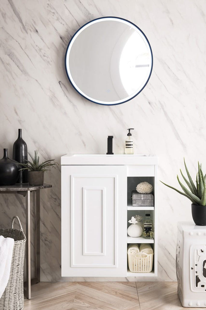 "Alicante' 24"" Single Vanity Cabinet, Glossy White"