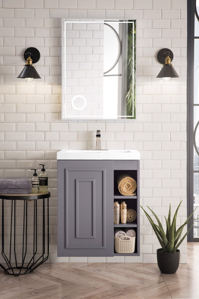 "Alicante' 24"" Single Vanity Cabinet, Grey Smoke"