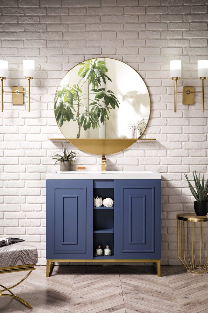 "Alicante' 39.5"" Single Vanity Cabinet, Azure Blue, Radiant Gold"