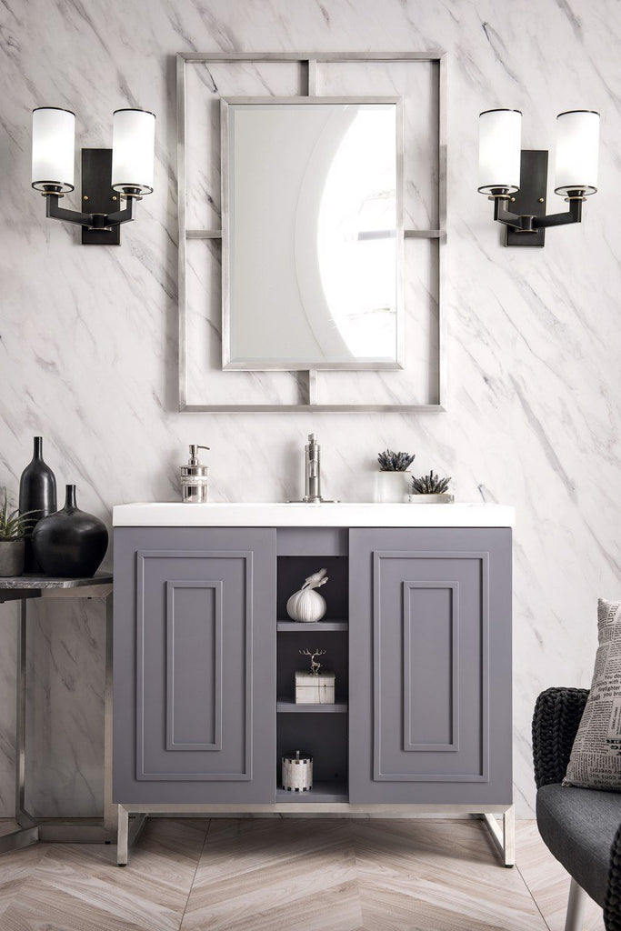 "Alicante' 39.5"" Single Vanity Cabinet, Grey Smoke, Brushed Nickel"