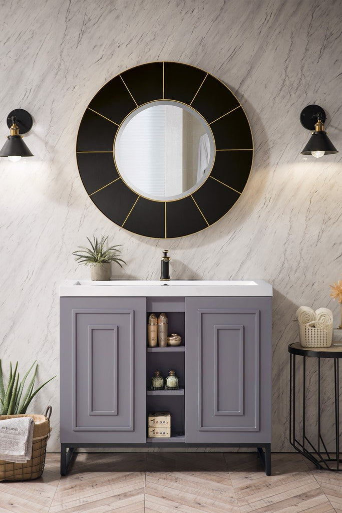"Alicante' 39.5"" Single Vanity Cabinet, Grey Smoke, Matte Black"