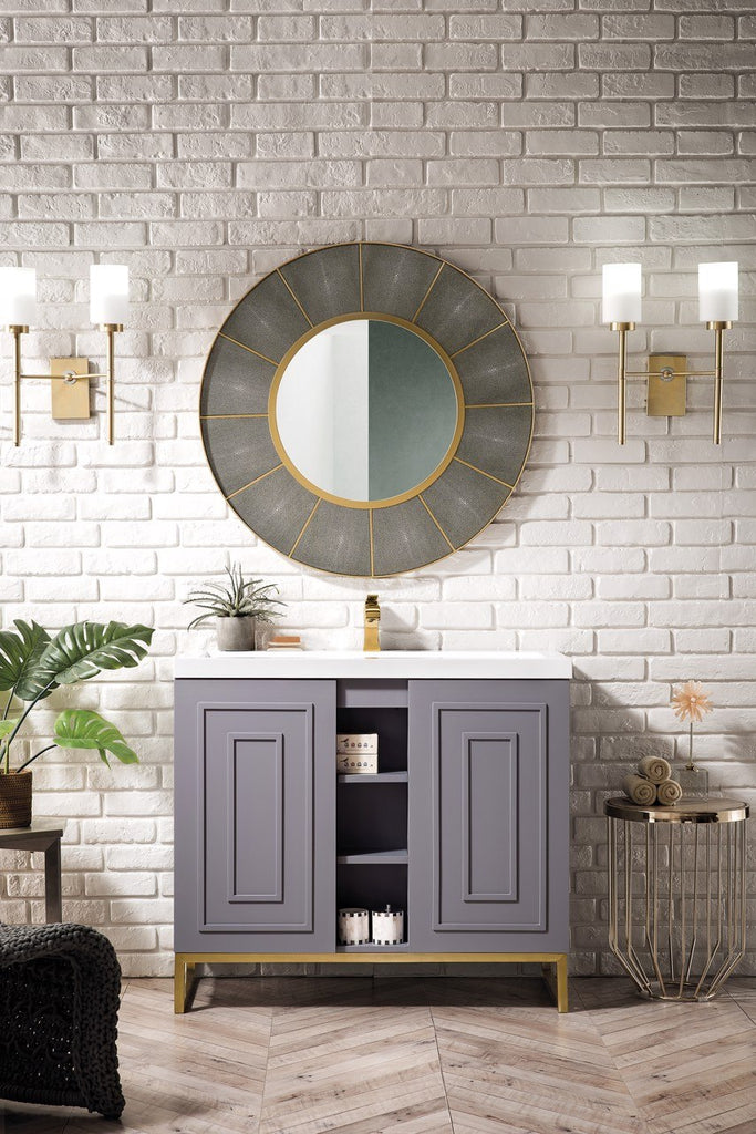 "Alicante' 39.5"" Single Vanity Cabinet, Grey Smoke, Radiant Gold"