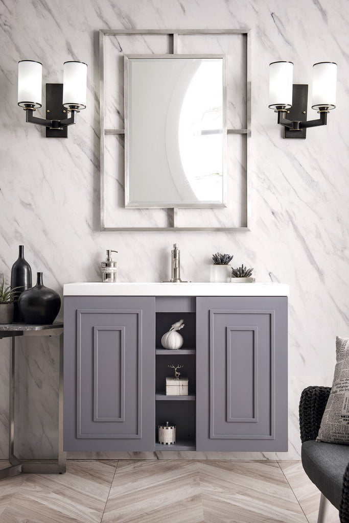 "Alicante' 39.5"" Single Vanity Cabinet, Grey Smoke"
