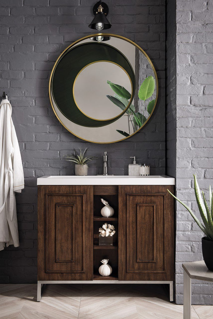 "Alicante' 39.5"" Single Vanity Cabinet, Mid Century Acacia, Brushed Nickel"