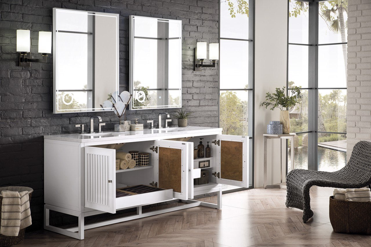 "Athens 72"" Double Vanity Cabinet, Glossy White Double Bathroom Vanity James Martin Vanities"