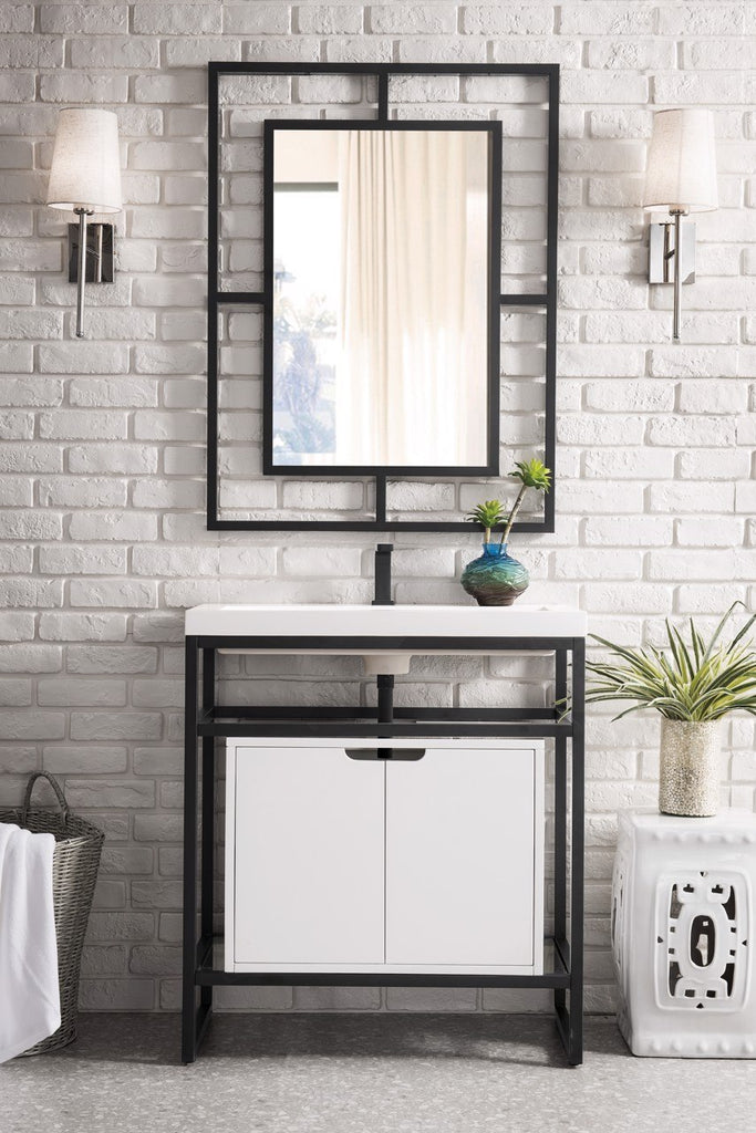 "Boston 31.5"" Stainless Steel Sink Console, Matte Black,  White Glossy Resin Countertop"