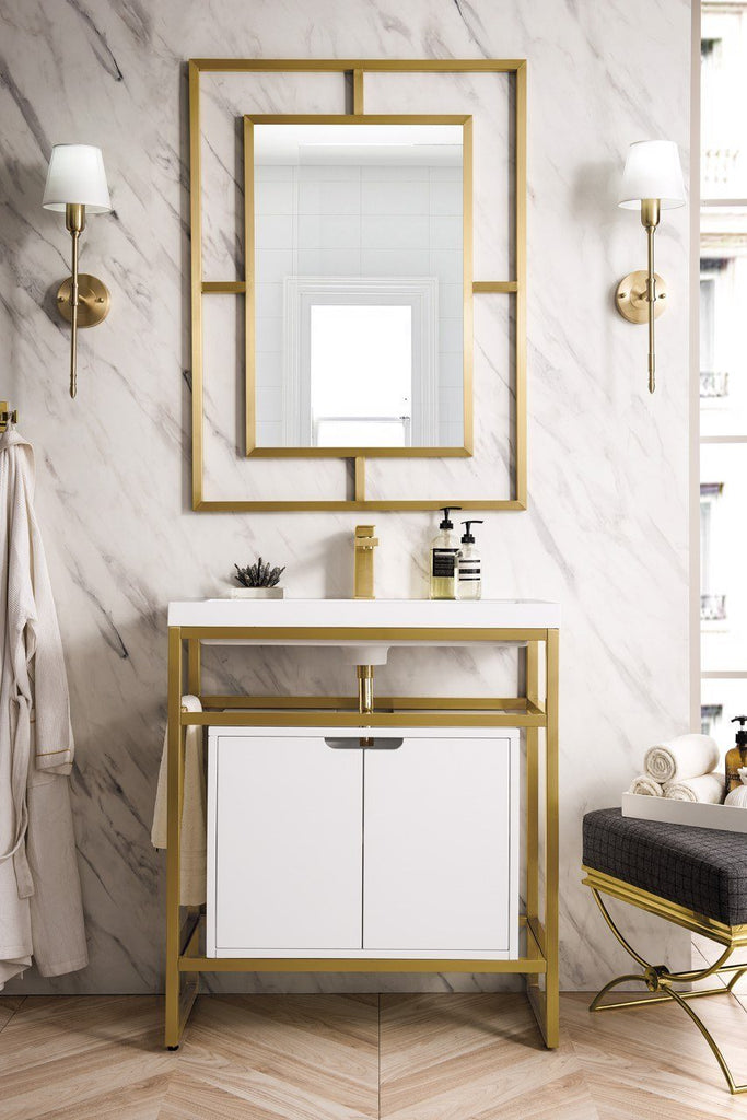 "Boston 31.5"" Stainless Steel Sink Console, Radiant Gold w/ Storage Cabinet, White Glossy Resin Countertop"