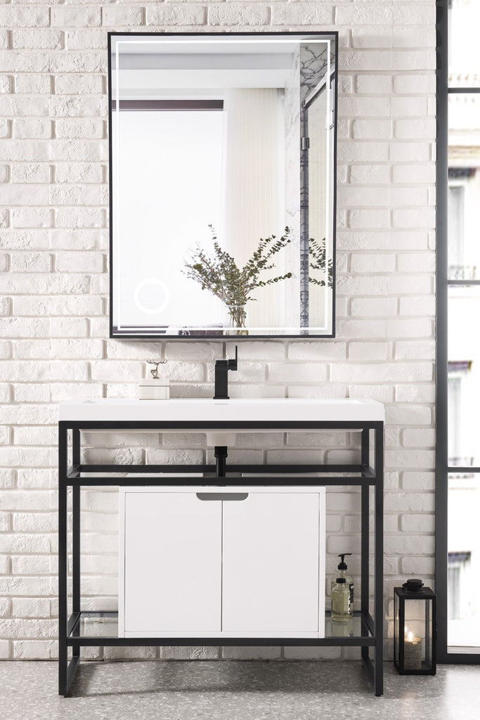 "Boston 39.5"" Single Stainless Steel Sink Console, Matte Black w/ Storage Cabinet, White Glossy Resin Countertop"