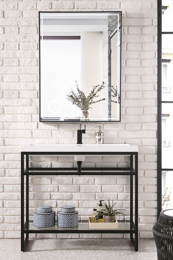 "Boston 39.5"" Single Stainless Steel Sink Console, Matte Black, White Glossy Resin Countertop"
