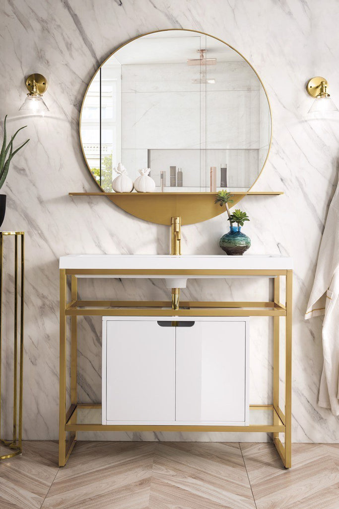 "Boston 39.5"" Single Stainless Steel Sink Console, Radiant Gold w/ Storage Cabinet, White Glossy Resin Countertop"