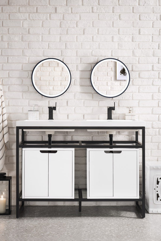 "Boston 47"" Stainless Steel Sink Console (Double Basins), Matte Black w/ Storage Cabinet, White Glossy Resin Countertop"