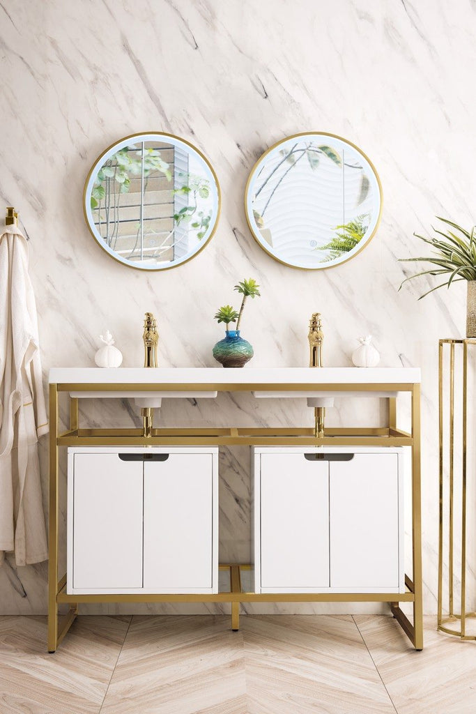 "Boston 47"" Stainless Steel Sink Console (Double Basins), Radiant Gold w/ Storage Cabinet, White Glossy Resin Countertop"
