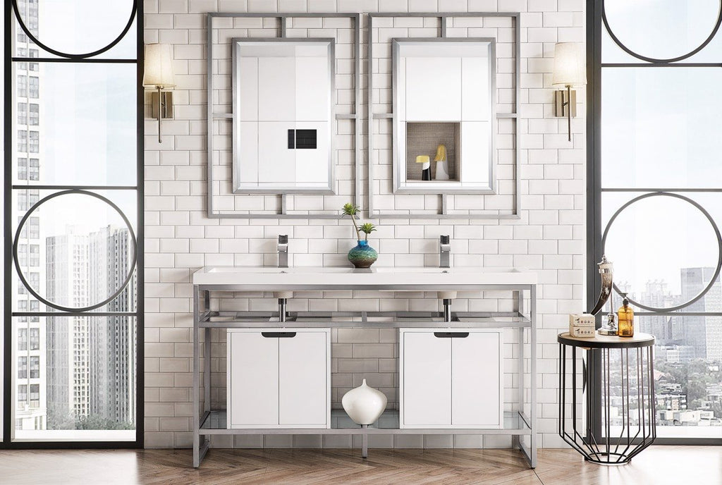 "Boston 63"" Stainless Steel Sink Console (Double Basins), Brushed Nickel w/ Storage Cabinet, White Glossy Resin Countertop"