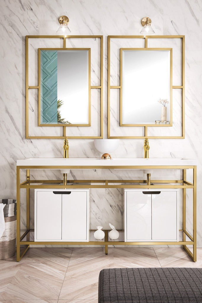 "Boston 63"" Stainless Steel Sink Console (Double Basins), Radiant Gold w/ Storage Cabinet, White Glossy Resin Countertop"