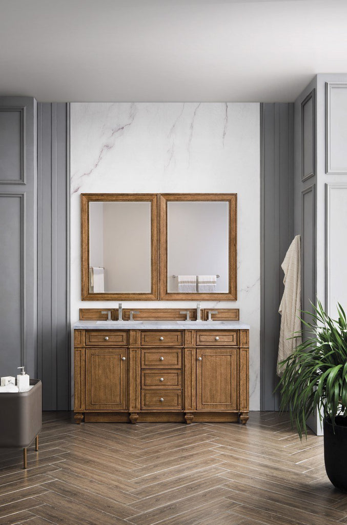"Bristol 60"" Double Vanity Cabinet, Saddle Brown"