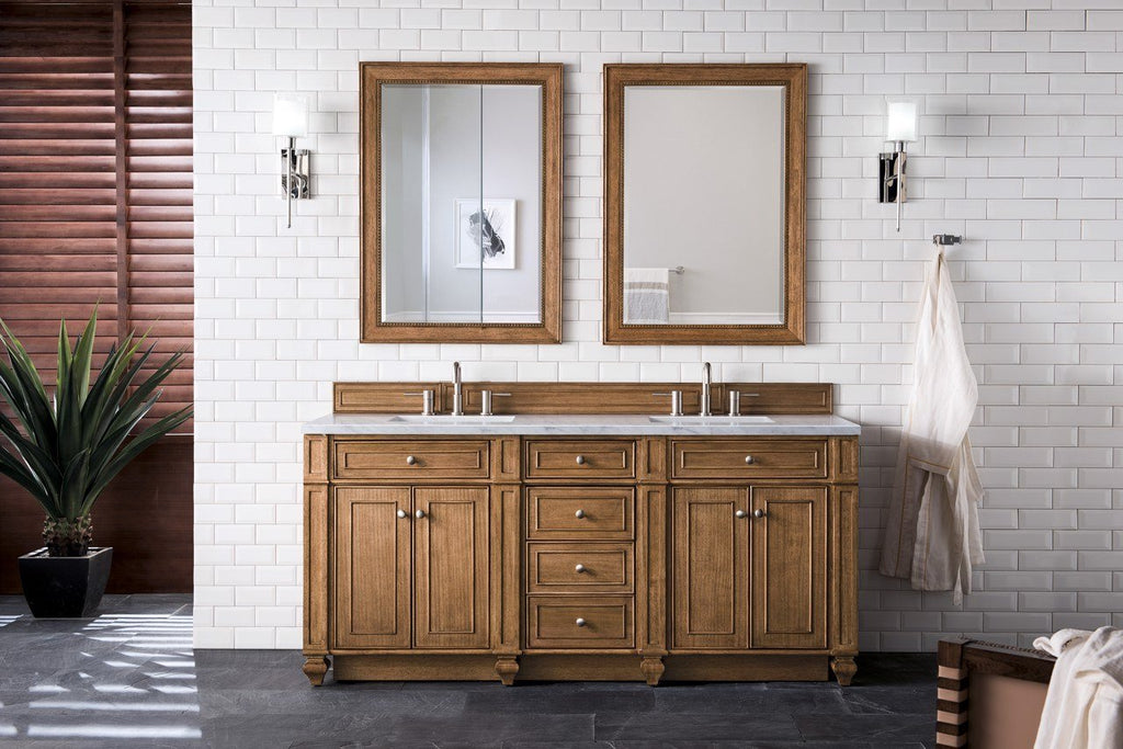 "Bristol 72"" Double Vanity Cabinet, Saddle Brown"