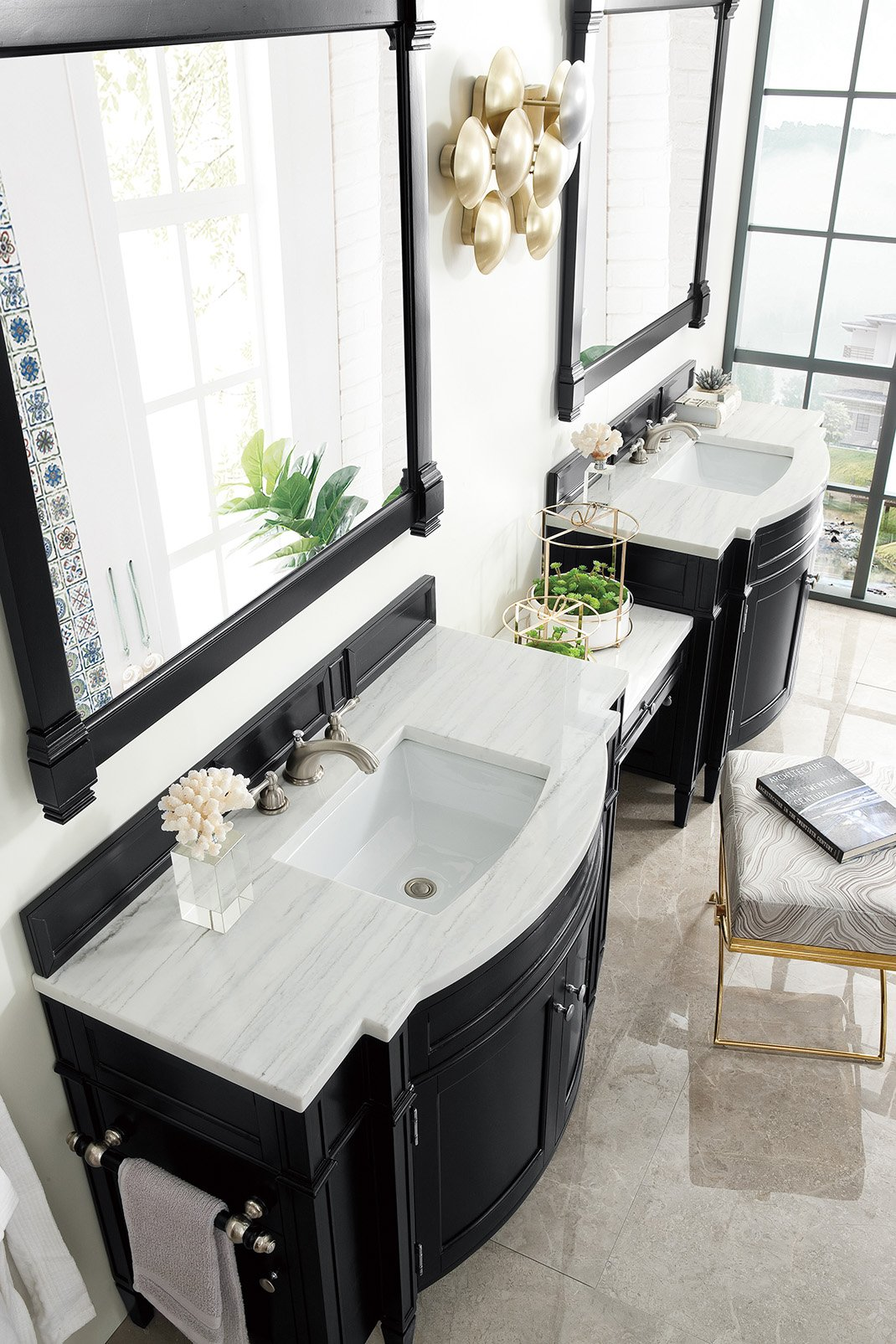 "Brittany 118"" Black Onyx Double Bathroom Vanity Double bathroom Vanity James Martin Vanities"