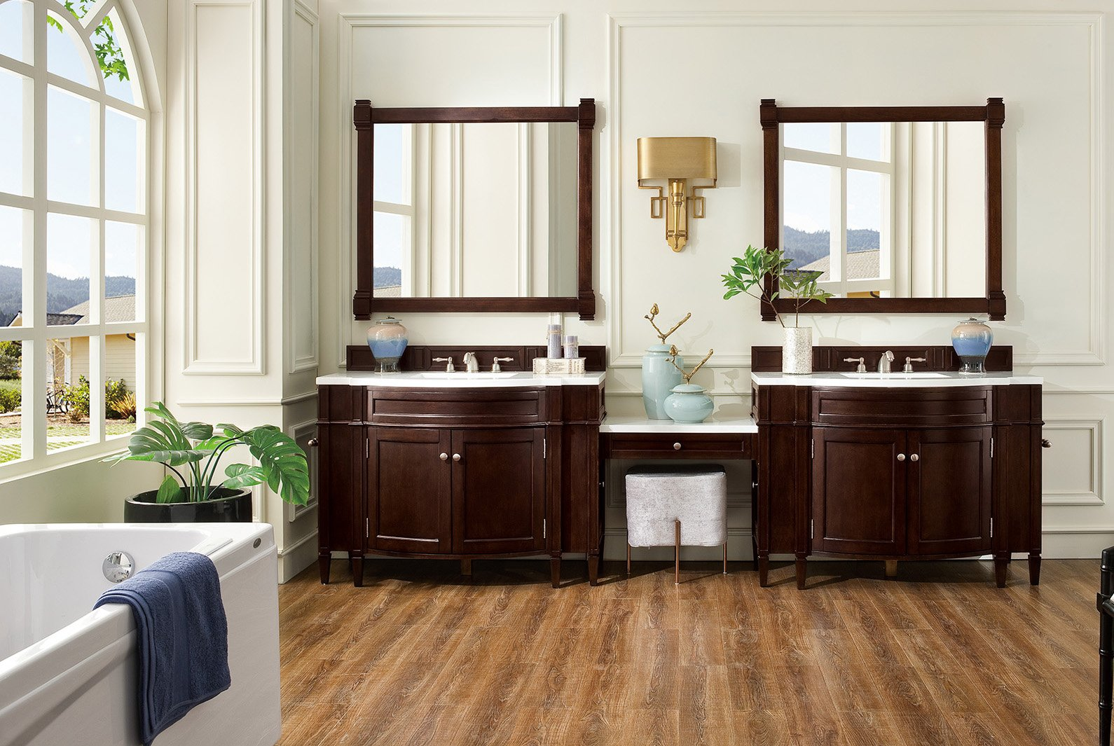 "Brittany 118"" Burnished Mahogany Double Bathroom Vanity Double bathroom Vanity James Martin Vanities"