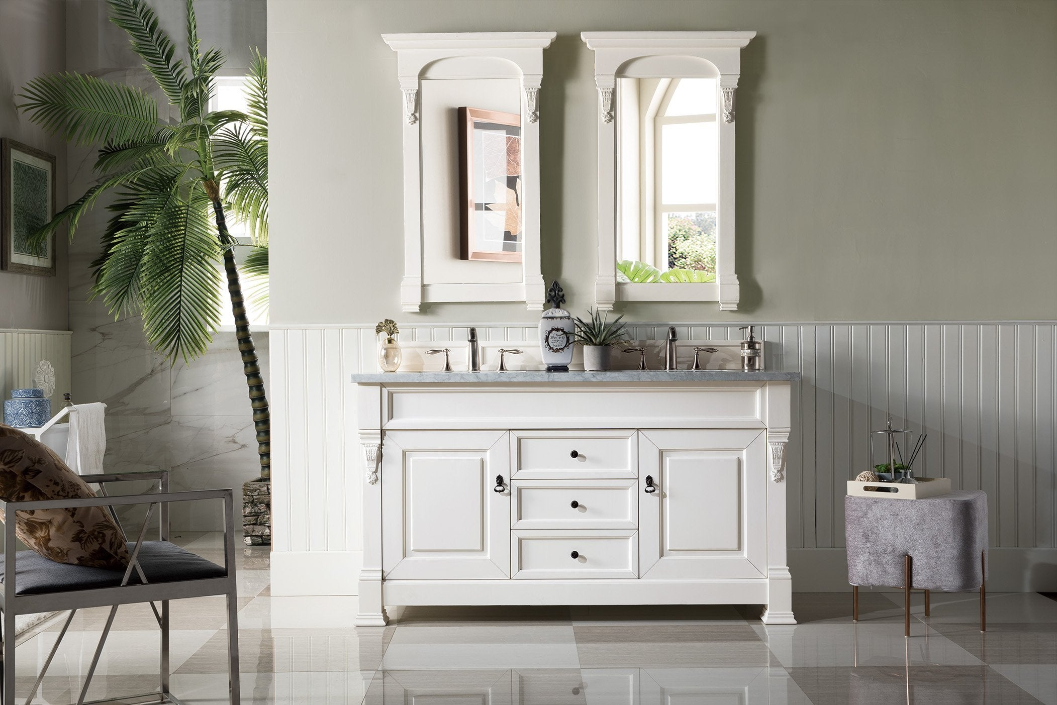 Brookfield 60 Double Bathroom Vanity Cottage White