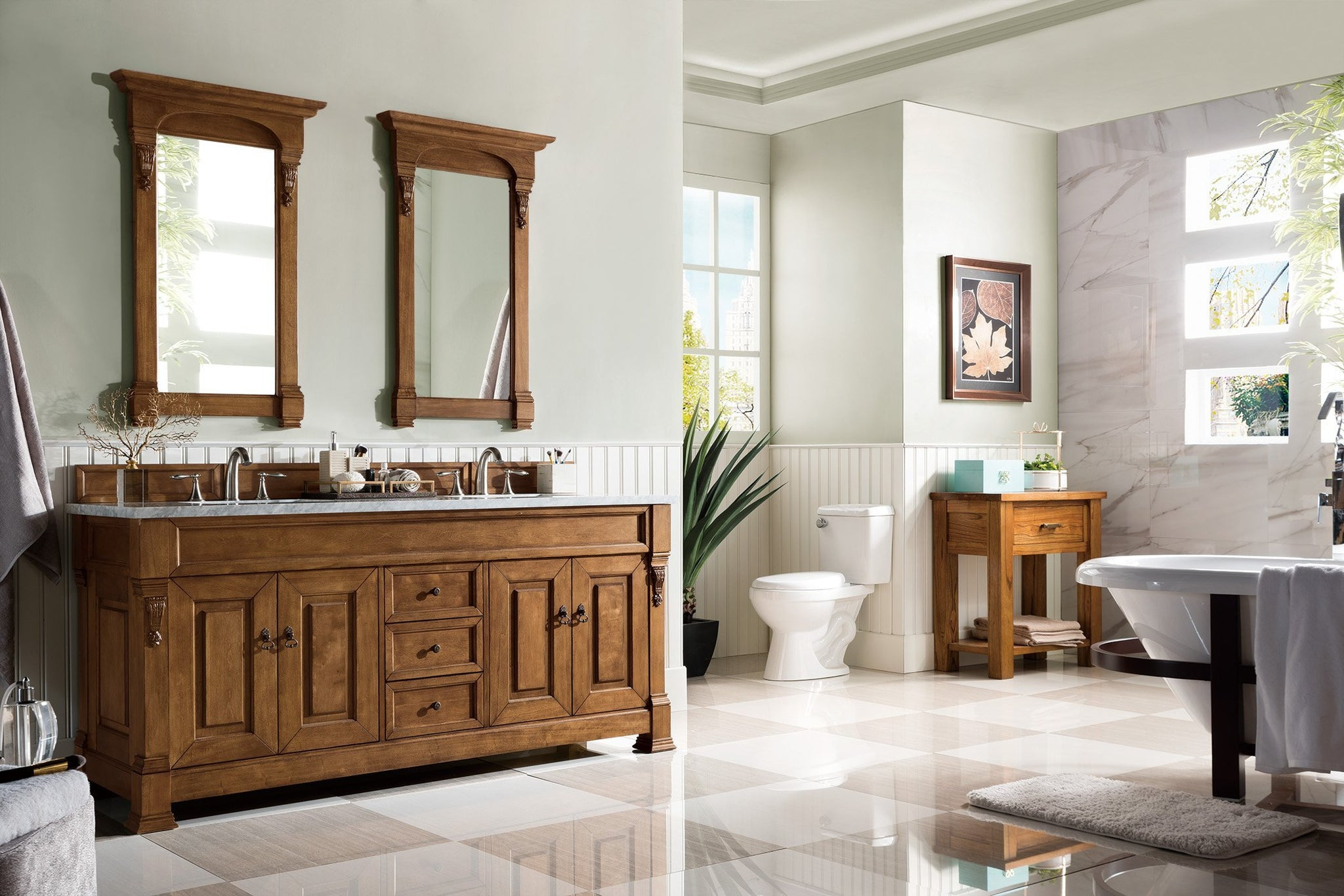 "Brookfield 72"" Double Bathroom Vanity-Country Oak"