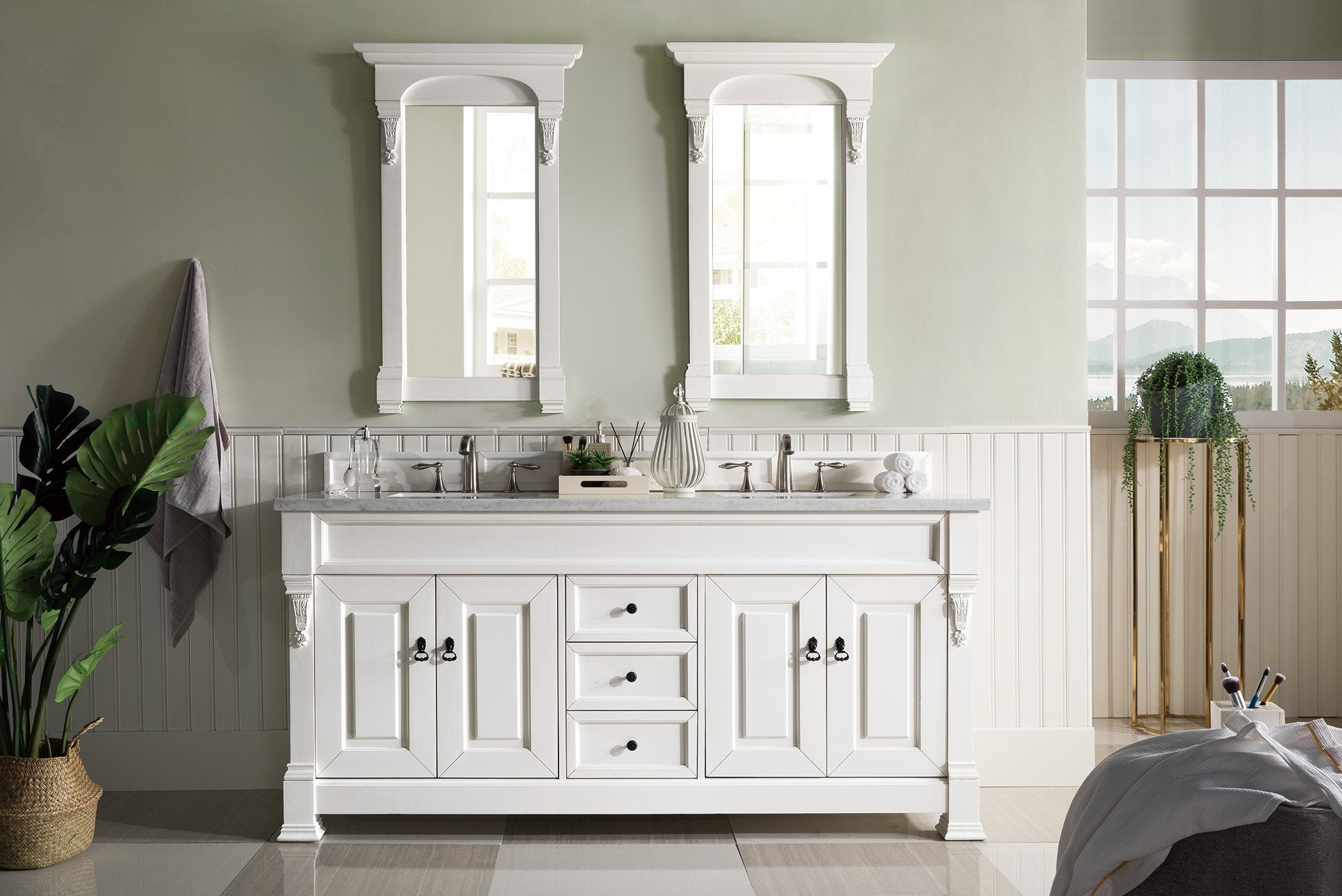 Brookfield 72 Double Bathroom Vanity Cottage White