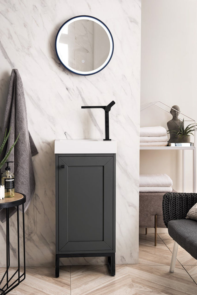 "Chianti 16"" Single Free Standing Vanity Cabinet, Mineral Grey, Matte Black, w/ White Glossy Resin Countertop"