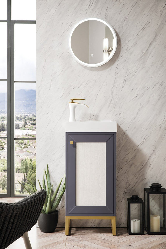 "Chianti 16"" Single Free Standing Vanity Cabinet, Mineral Grey, Radiant Gold, w/ White Glossy Resin Countertop"