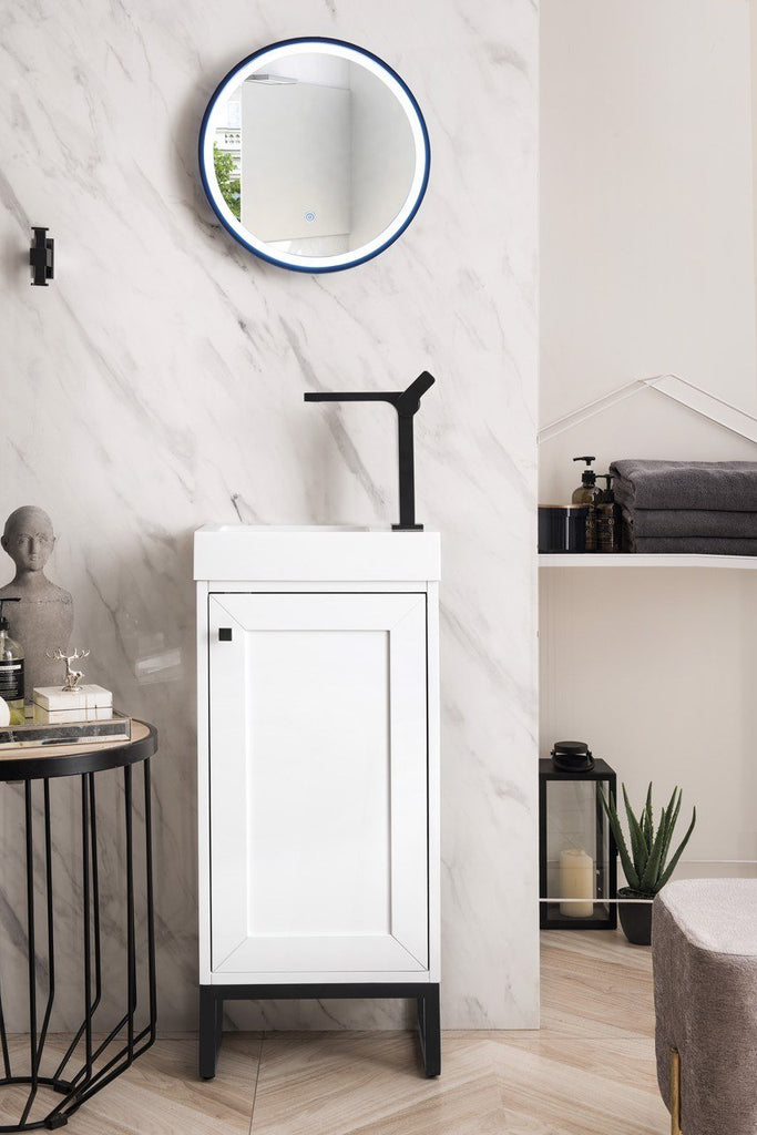 "Chianti 16"" Single Vanity Cabinet, Glossy White, Matte Black, w/ White Glossy Resin Countertop"
