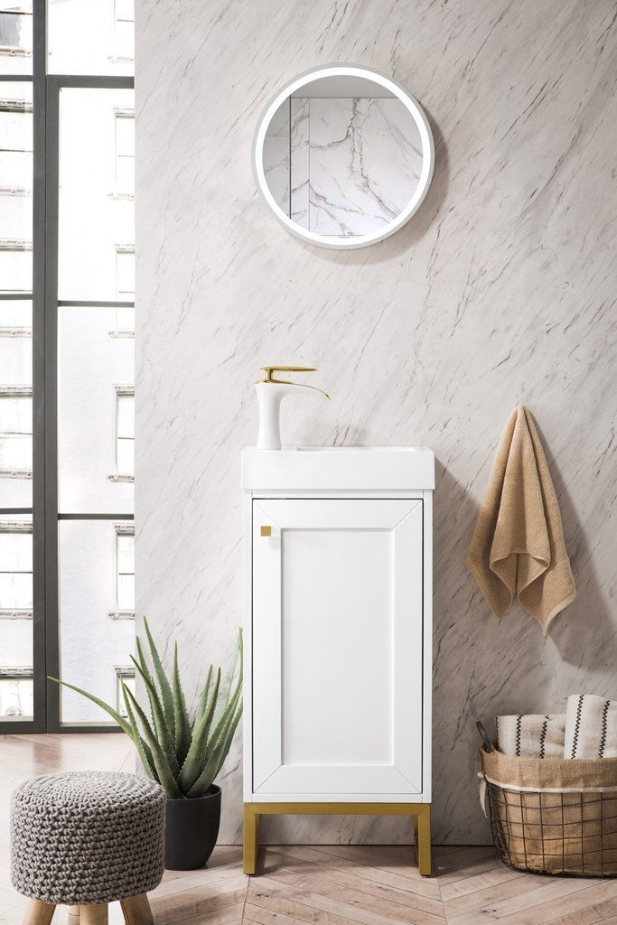 "Chianti 16"" Single Freestanding Vanity Cabinet, Glossy White, Radiant Gold, w/ White Glossy Resin Countertop"