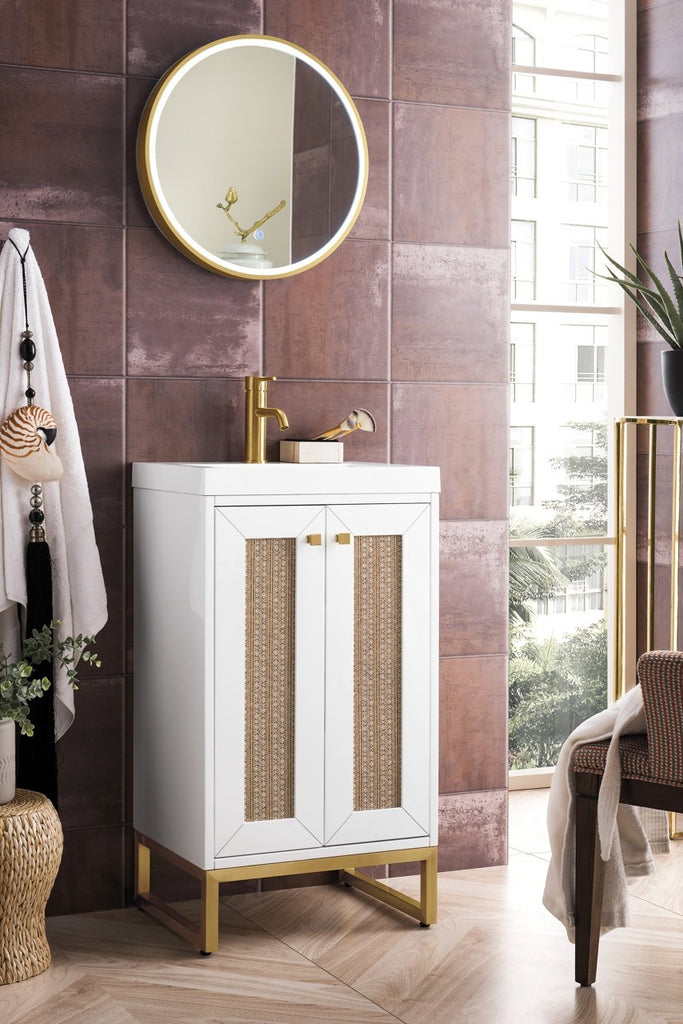 "Chianti 20"" Single Free Standing Vanity Cabinet, Glossy White, Radiant Gold, w/ White Glossy Resin Countertop"
