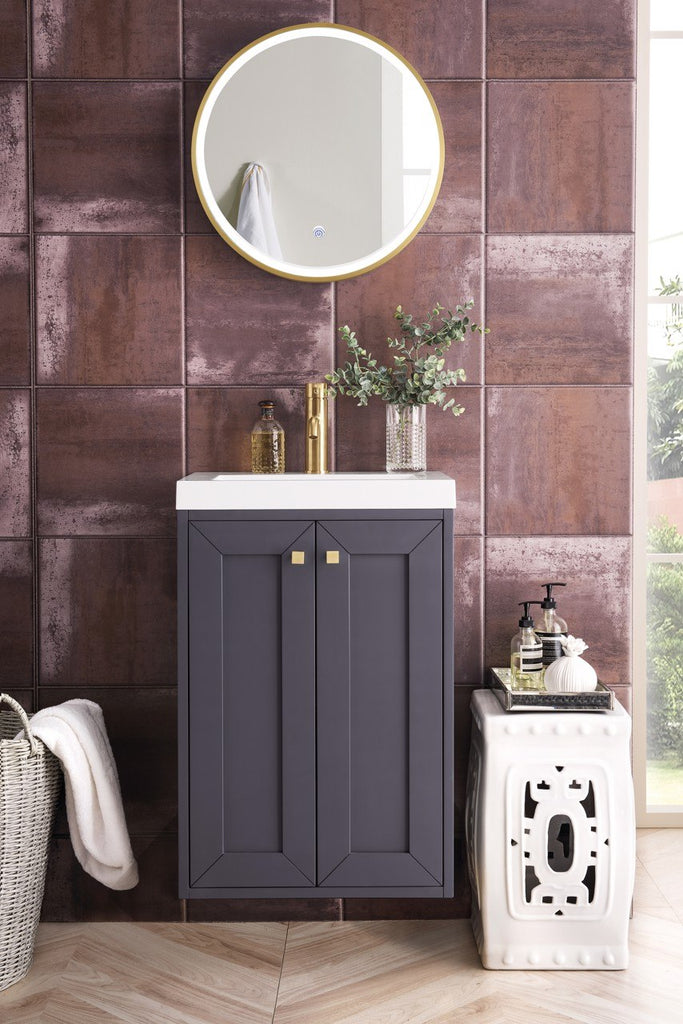 "Chianti 20"" Single Wall Mounted Vanity Cabinet, Mineral Grey w/ White Glossy Resin Countertop"